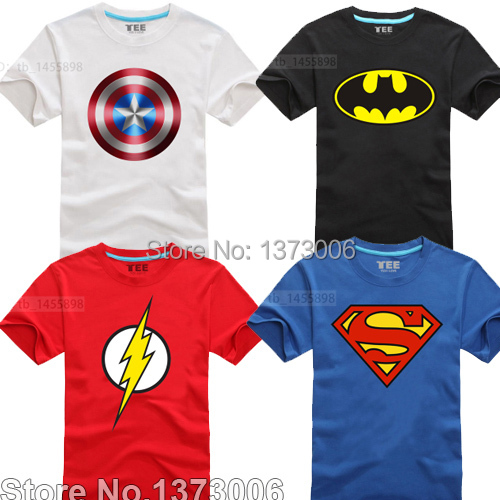 Comic Super Hero T-Shirt Marvel DC Superman Batman Captain America the Flash Movie Men Cosplay T Shirts Tshirt Geek Tee(China (Mainland))