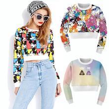 Raisevern new fashion womens crop sweatshirt kawaii cartoon emoji hoodie cropped tops shirts girls casual outfit crop top(China (Mainland))