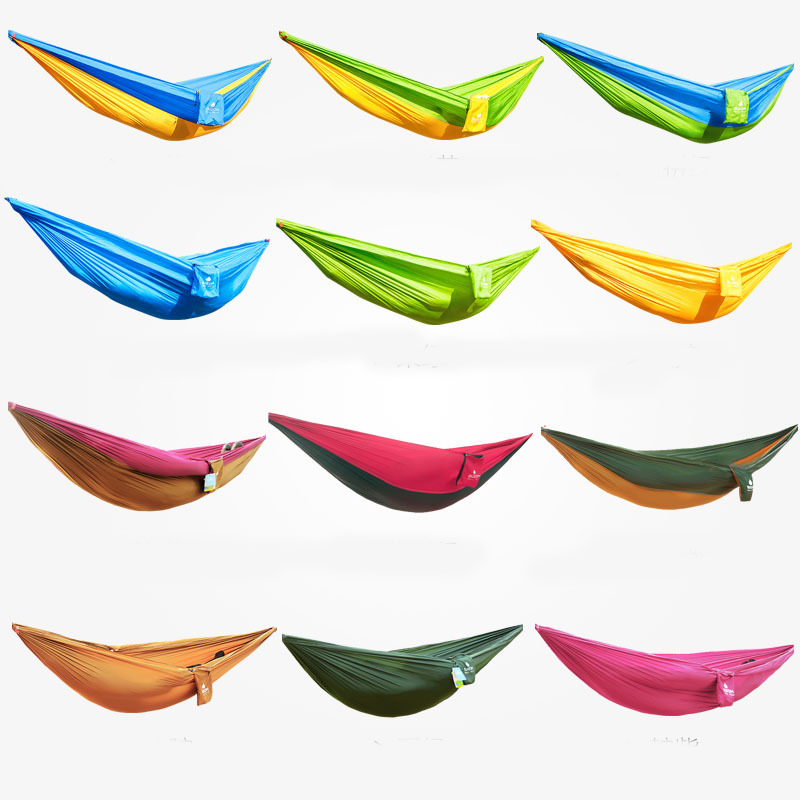 260*130cm Outdoor double casual parachute cloth hammock indoor swing emperorship 12 color Double Hammock super load bearing(China (Mainland))