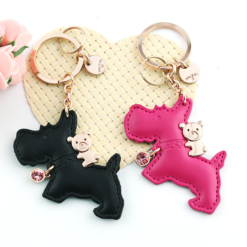milesi brand horse bear leather keychian original design key chain car bag pendant gift for lover couple keyring(China (Mainland))