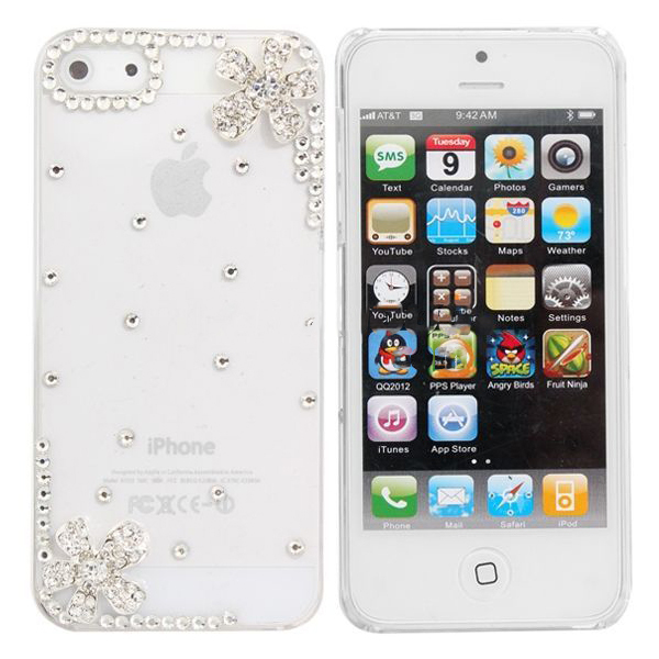 Chinafactory Crystal Diamond Little Flower Decorated Case For for iphone 5(China (Mainland))