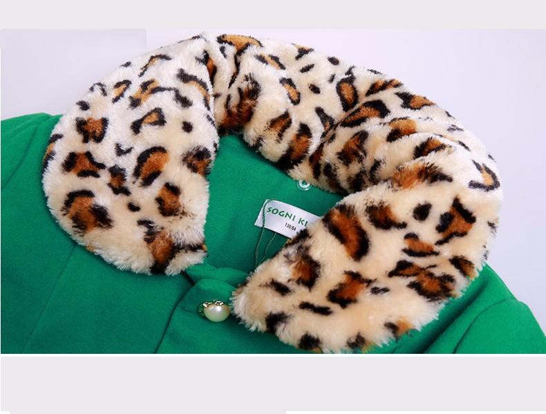 Скидки на Дети девушки зимой Шерстяные пальто длинный толстый верхняя одежда зеленый Лоскутная leopard Воротник Ветровка для девочки шерстяное пальто куртки