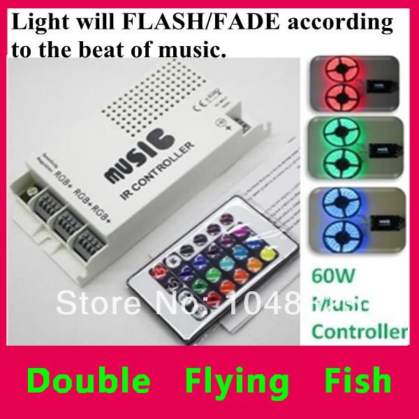Здесь можно купить  Music Audio Sound Driver RGB 3 Port(RGB+)  can control up to 3 x 5 metre  3528 LED strip lights LED Controller 12V 60W IR Remote  Свет и освещение