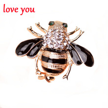 new 2016 bijouterie 2 style rhinestone bee brooches for women/men dress fashion jewelry gold plated cute unisex brooch pin gift