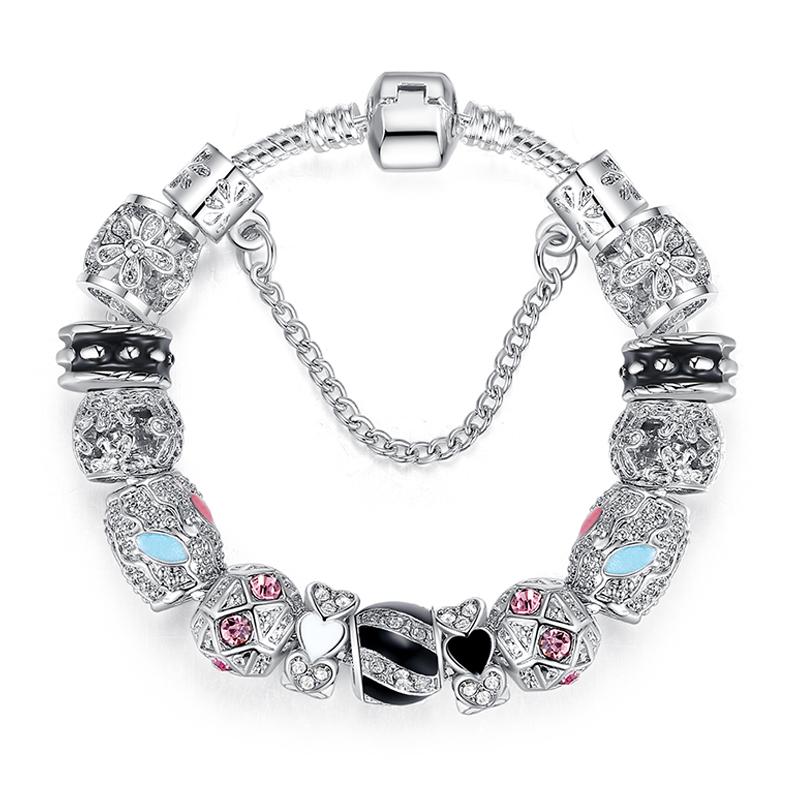 Гаджет  Authentic 925 Silver Charm Fit Pandora Bracelet Pulseira with Sliver Beads Snake Chain Bracelet for Women Jewelry PS3149 None Ювелирные изделия и часы