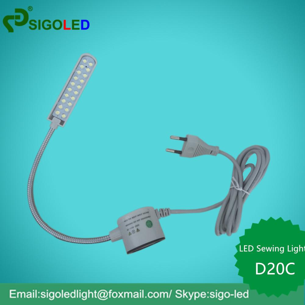 D20C 2W 110V220V EU Plug Super Bright White 20-LEDs led sewing machine lamp Magnetic Mounting Base Flexible Gooseneck LED Light(China (Mainland))