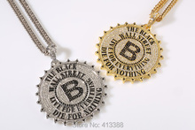 YSN3  Men Jewelry Gold Silver Plated  B Letter Gear Cog Wheel Charm Rhinestone Big Pendants Men's Necklace,90CM Hip Hop Necklace(China (Mainland))