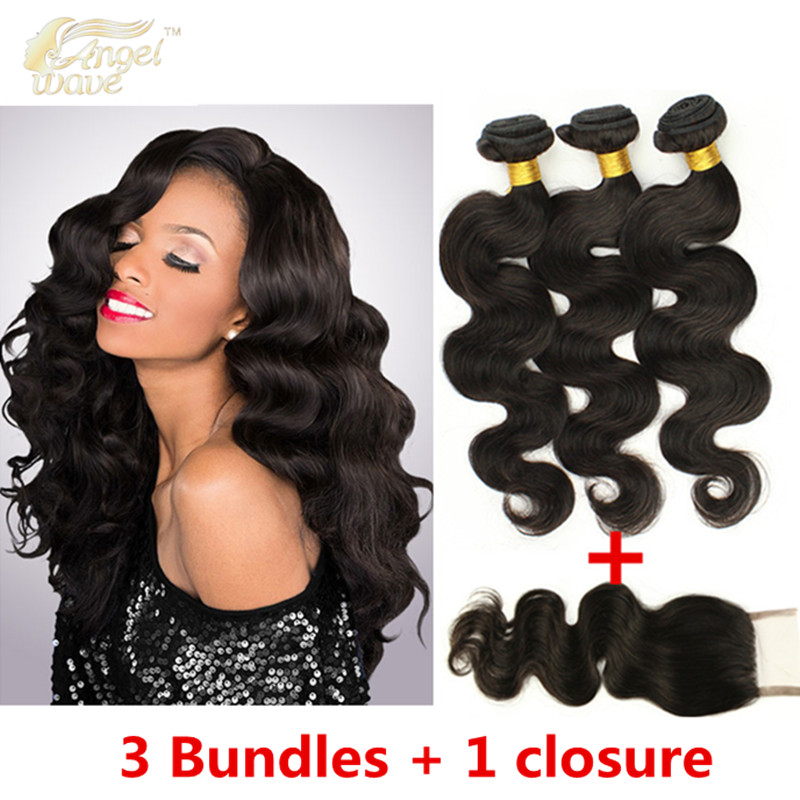 Angelwave hair 8A brazilian hair bundles with closure 3 bundles brazilian body wave closure Human Hair Extension 100%  <br><br>Aliexpress