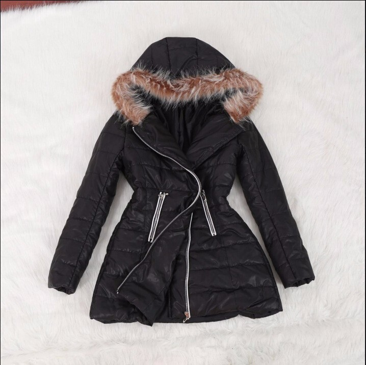 New Fashion Winter Womens 2016  Fur Parka Casual Outwear Zipper Down & Parkas Wide-waisted Coats Femme Woman Clothes