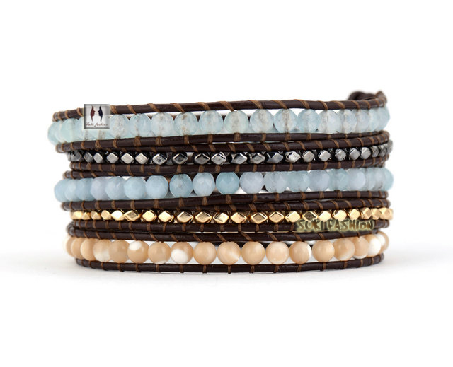 Mixed Stones Gold Hematite Plated Beads Wrap Bracelets Beading Bohemian Leather Bracelet - SUKI FASHION JEWELRY store