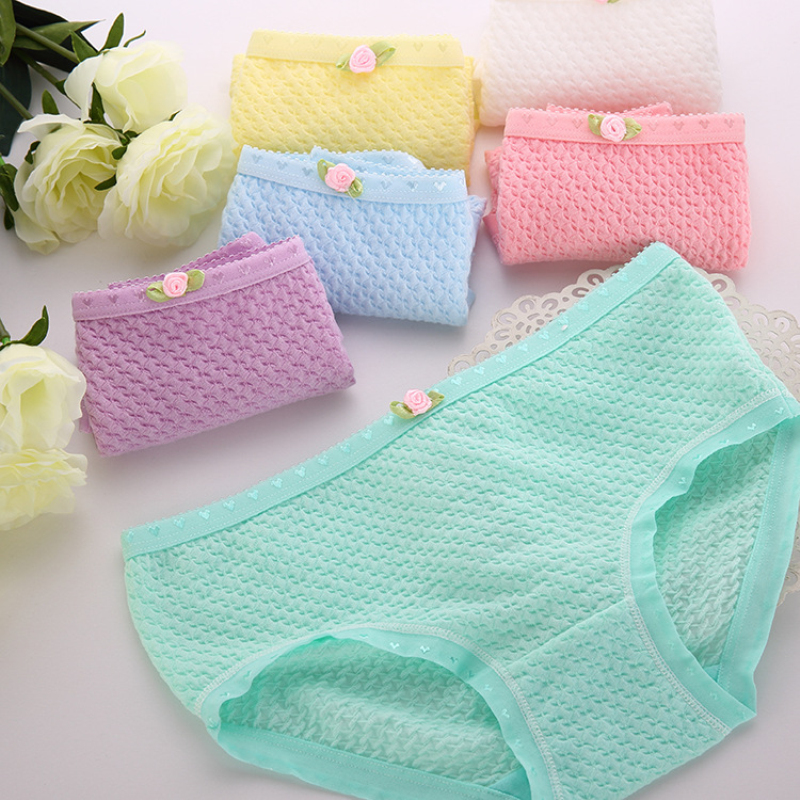 Cute Women Underwear Cotton Breathable Underpants Lady's Briefs Candy Color Panties(China (Mainland))