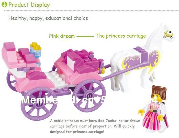 wholesale retail Sluban Building Blocks Enlighten Girls Toy/Simple Royal Carriage 99pieces/2minifigure compatible with gift(China (Mainland))