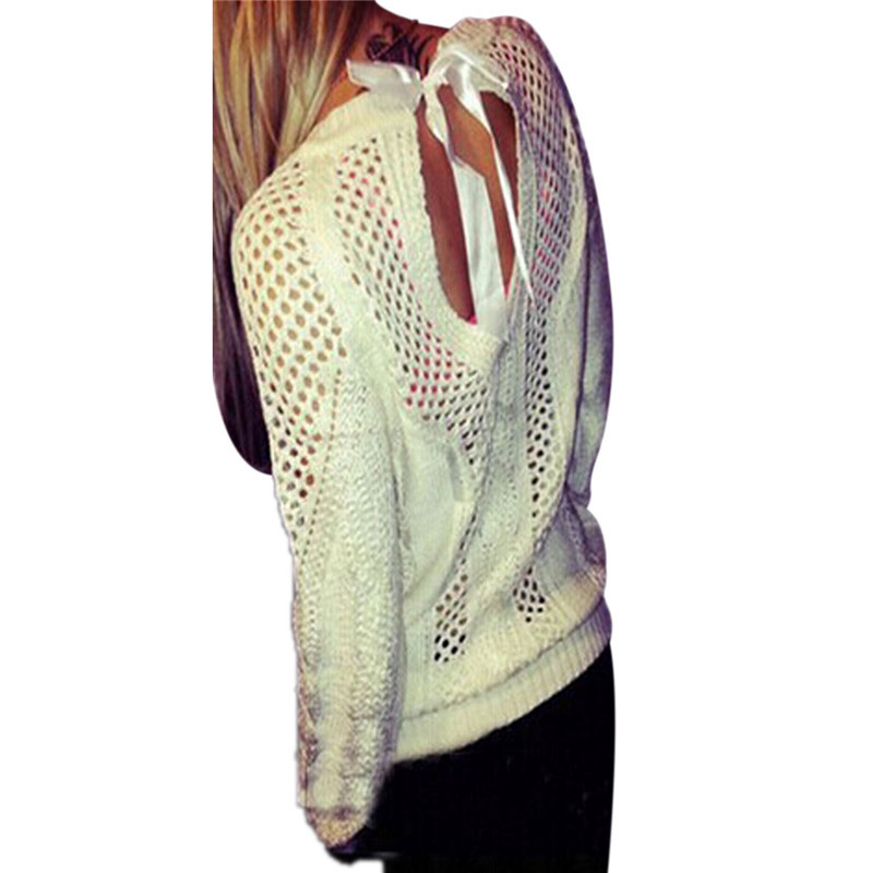 2015 Autumn Women Fashion Hollow Out Hemp Flowers Knit Sweaters Bow Backless Long Sleeve O Neck Pullovers Jumper Plus Size S-3XL(China (Mainland))