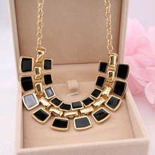 2015 Trendy Necklaces Pendants Link Chain Collar Long Plated Enamel Statement Bling & Fashion Necklace Women Jewelry P-028(China (Mainland))
