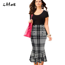 Mermaid Skirt 2016 Womens Chidori Plaid font b Tartan b font Elegant Ladies Wine Red Casual