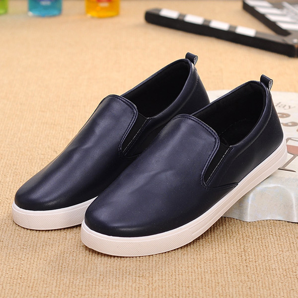 2016 Men's Basic Flats Shoes Fashion Casual Round Toe Slip-On Shoes Spring Autumn Rubber Sole Shoes Wholesale Black Blue Brown