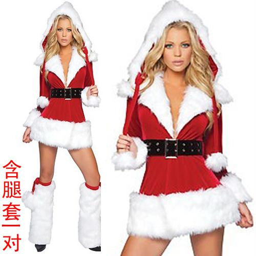High quality Christmas clothing women's red stripe uniform cosplay costume clothes Free shipping(China (Mainland))