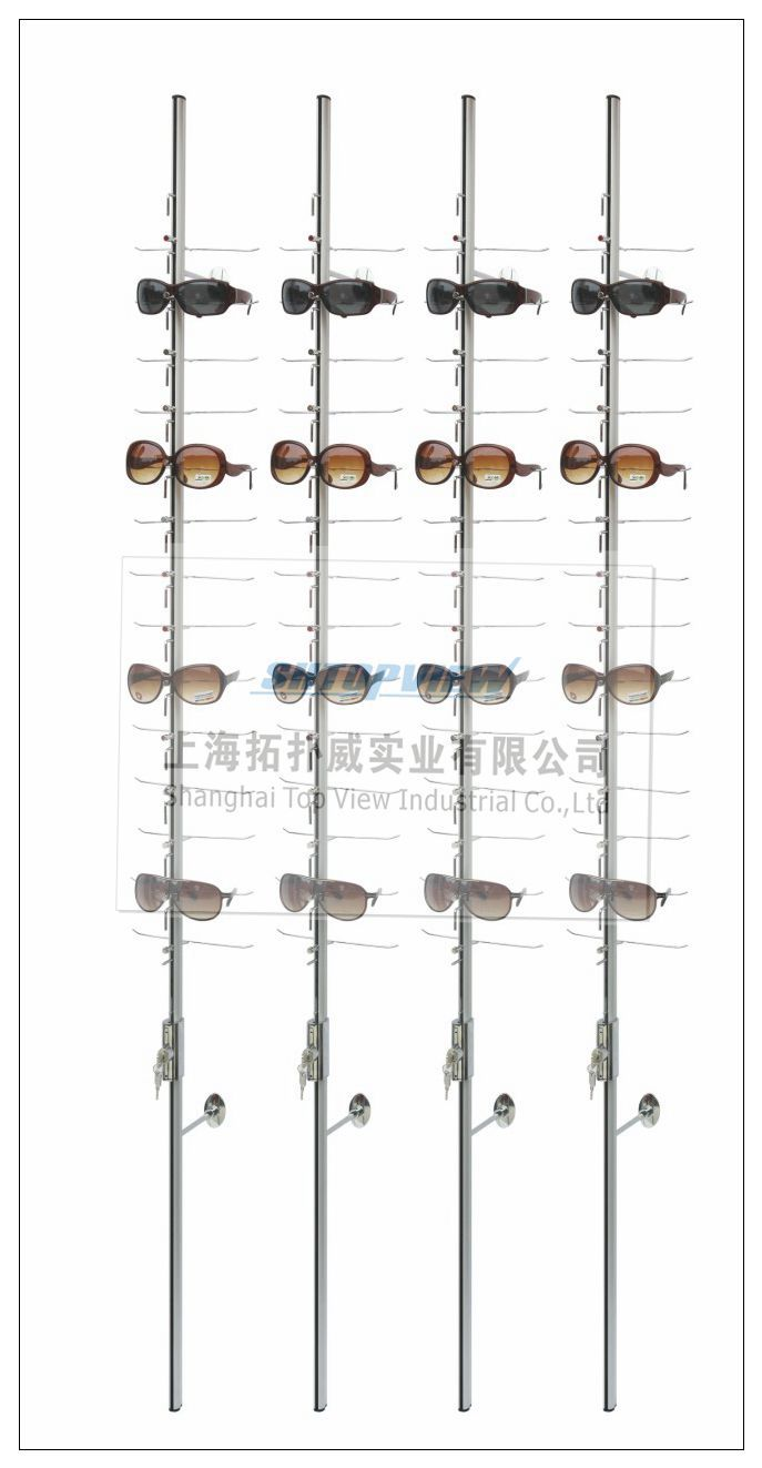 LOC-C-18PC-160CM Sunglasses Display Rack with Lock Length 160cm Hold 18 Pcs Eyewear Aluminum Alloy And Steel Show Stand Holder(China (Mainland))