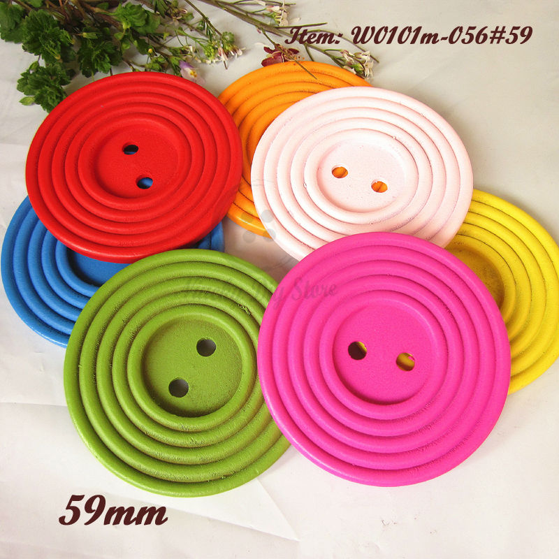 30pcs 59mm Large Colorful Round wood buttons Big decorative buttons suit for child toys scrapbooking accessories wholesale(China (Mainland))