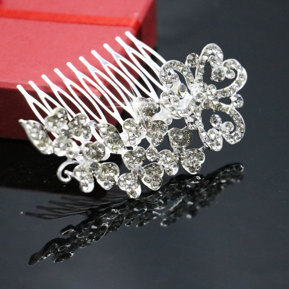 2015 Wedding Bridal Hairpin Heart Shape Hair Comb Fashion Crystal Hair Clips For Women Headwear Jewelry Accessories Girl Gift(China (Mainland))