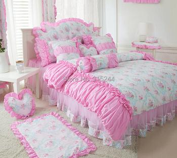 Хлопок пастырской маленький цветок постельных принадлежностей король кровать принцесса розовый кружевной кровать юбка одеяло в мешках