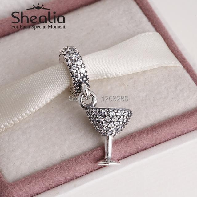 Коктейльный стекло мотаться подвески-талисманы бусины с cz 925 чистое серебро SHEALIA ювелирные изделия подходит своими руками браслеты DG142