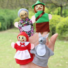 4PCS/lot Little Red Riding Hood Christmas Animal Finger Puppet Story Toys(China (Mainland))