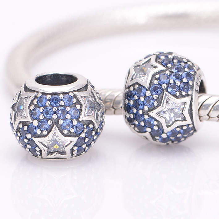 HOT SALE Fits Pandora Charms Bracelet 925 Sterling Silver Beads Midnight Blue Pave Stars Charm DIY Bracelets for Women Jewelry(China (Mainland))