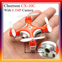 Hot Sale Cheerson CX-10C CX10 Mini Remote Control Helicopter 2.4G 4CH 6 Axis Gyro RC Drone Quadcopter with 0.3MP Camera 2 Colors
