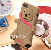 Hot sell 3D Teddy Cute Bear silicon cover cases for iPhone 4 4s Free Shipping high quality 1pcs