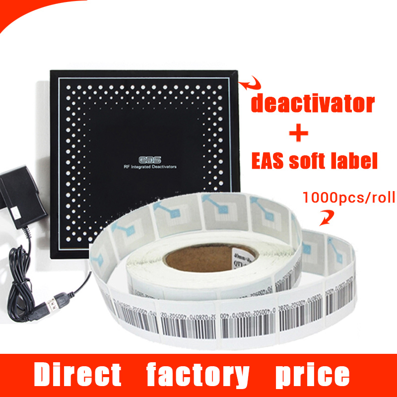 1000pcs 8.2 MHz RF soft tag + 1pc deactivator for soft label eas decode system eas soft label anti-theft label barcode sticker(China (Mainland))