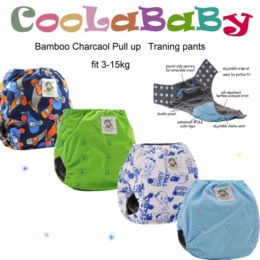 Free shipping.8 Coolababy Bamboo Charcoal Pull up Potty Traning Pants + 16 bamboo charcoal inserts(China (Mainland))