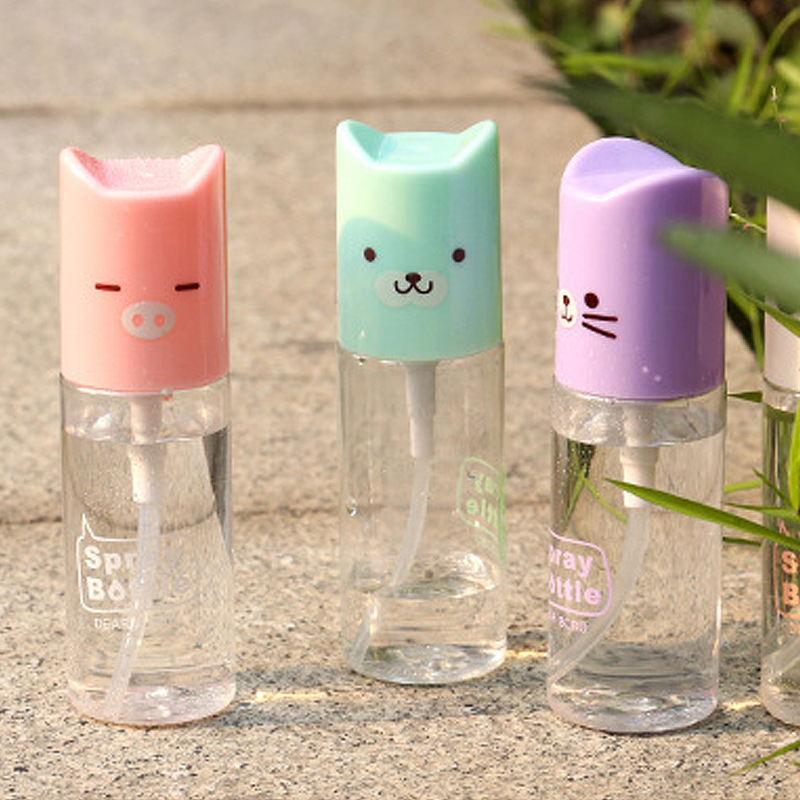 1pc Mini Cute Cartoon Plastic Transparent 35ml Small Empty Spray Bottle For Make Up And Skin Care Refillable Bottle(China (Mainland))