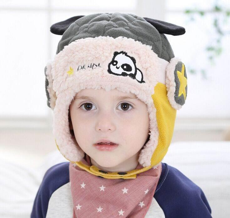 2016 Winter New Style Baby Hats Panda Berber Fleece Boy Girl Protect Ear Hats Scarf 10-36M MZ4156