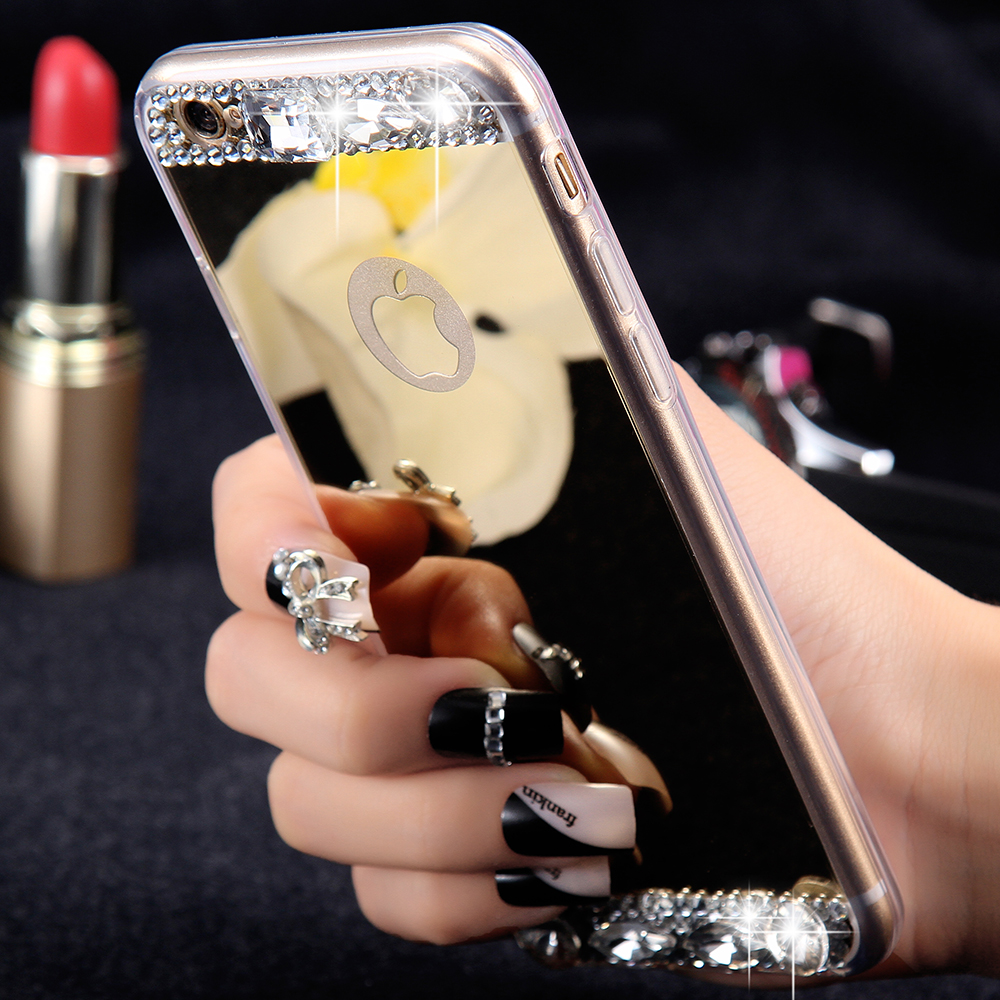Luxury Diamond Mirror Case For iPhone 6 6s / Plus / 5 5s Handmade Rhinestone Crystal Soft TPU Frame Cover for Iphone6 s Plus(China (Mainland))