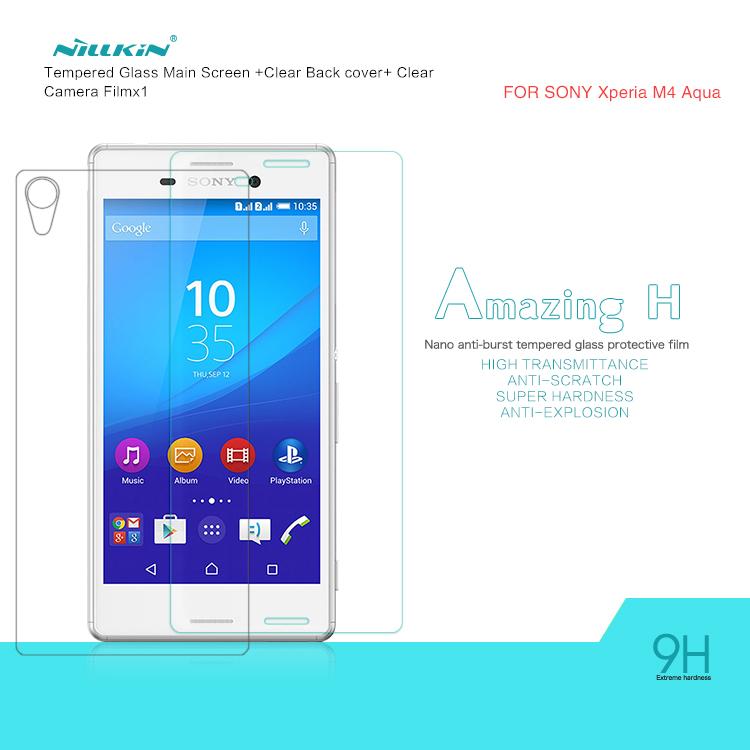 NILLKIN Screen Protector For Sony Xperia M4 Anti-Explosion H Tempered Glass Screen Film For Sony Xperia M4 Aqua/E2303/E2333(China (Mainland))