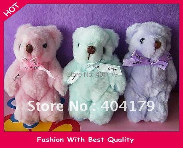 Wholesale and Retail Promotional gift plush toys doll teddy bear with santi bow 9colors 13cm 20pcs/lot
