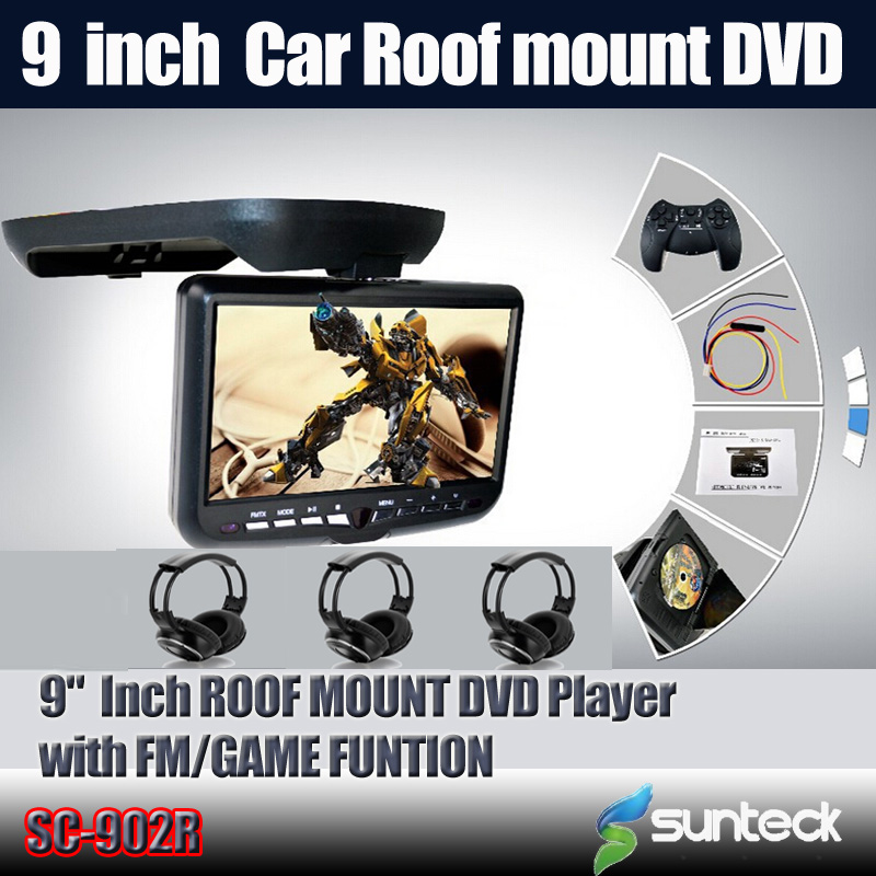 "Free Shipping 9 "" Roof Mount Car DVD Player with 32bit Game/MPEG4/USB/SD/FM/IR+3pcs IR wireless headphones For Free(China (Mainland))"