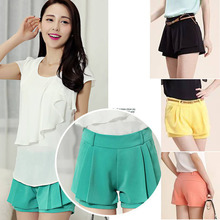 2014 New Fashion Summer Shorts Hot Pants Chiffon Shorts with Belt Leasure Women's Pants Cool Casual Wear Plus Size XXL 5 Colors