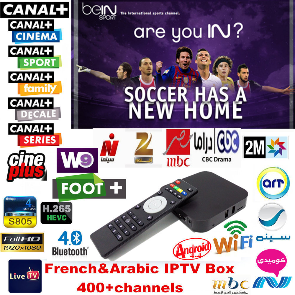 Quad Core S805 Android Arabic & French IPTV Box 400 Live TV channels HD Set Top Box Bein Sky Sports OSN MBC French Canal+ Cine+(China (Mainland))
