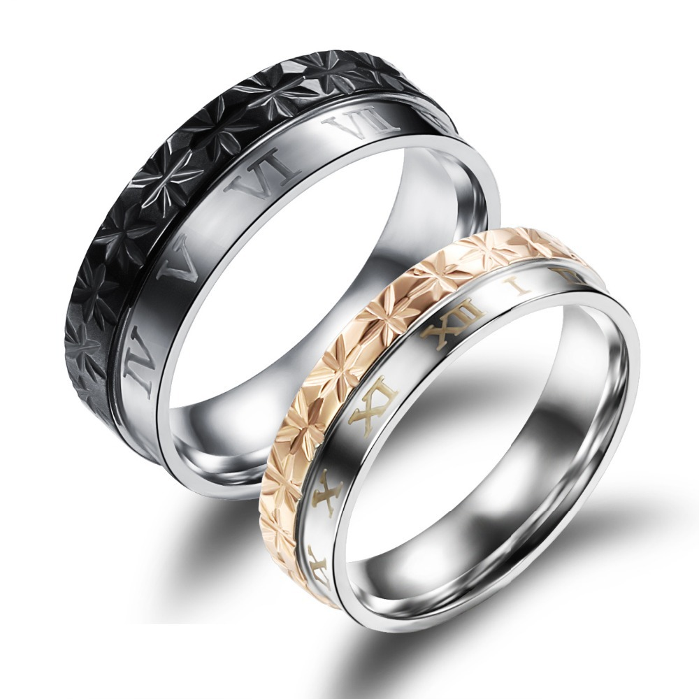 South Korea jewelry New character double color ring creative trend avant-garde titanium steel couples GJ456 - Boys and Girls(BAG store)