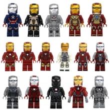 MOC Ironman sy179 sy185 IRON MAN FULL SET Educational Brick Elighten Blocks MK5 Mark16 Patroit War Machine MK1 Pepper MK35(China (Mainland))