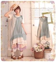 Fashion Preppy Japan Korean Style Mori Girl Forest Kawaii Lolita Cute Cotton Patchwork Lace Dress Sleeveless
