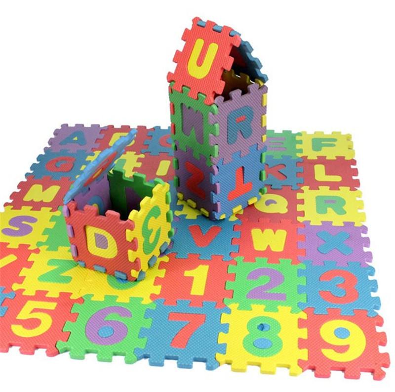 children mini EVA Foam Alphabet Letters Numbers Floor Soft Baby Mat 3d puzzle Kids Educational toys 36 pcs(China (Mainland))