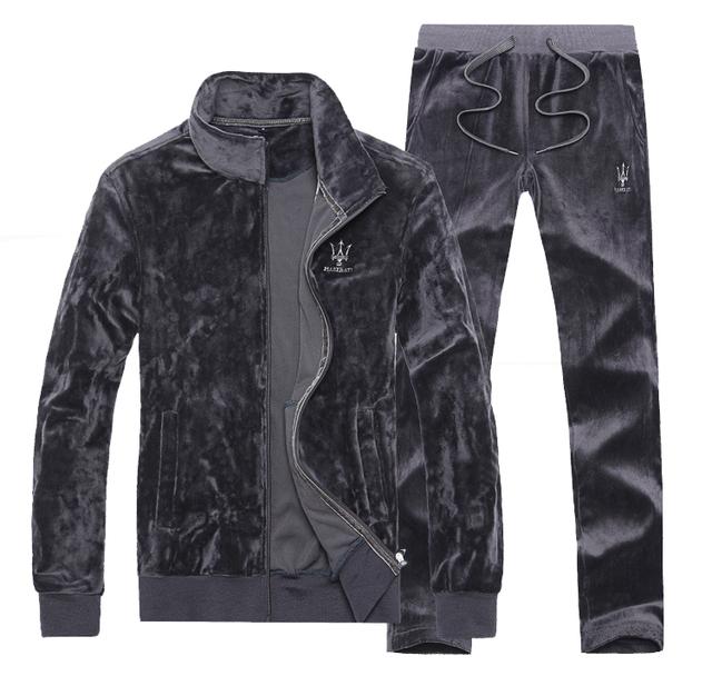 4XL весна осень зима бархатистой свободного покроя костюм комплект женщин-мужская спортивной велюровый спортивный костюм мужчины молния куртка + брюки # 151245