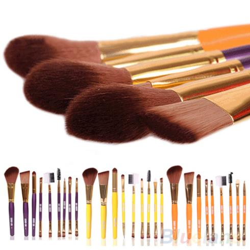 Blush Lip Makeup Eyebrow Eyeliner Brush Set Cosmetic Tool Beauty Brushes 9Pcs 3 Colors(China (Mainland))