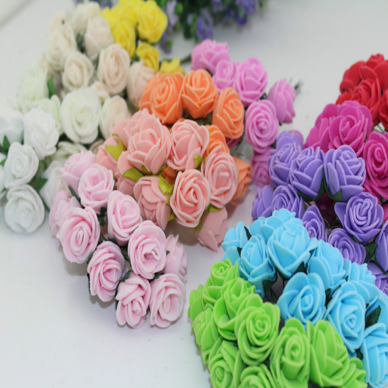 2016 2.5cm Multicolor Artificial PE Rose Foam mini Flower Bouquet Solid Color Wedding Supplies Home Decoration(144pcs/lot)6HD009(China (Mainland))