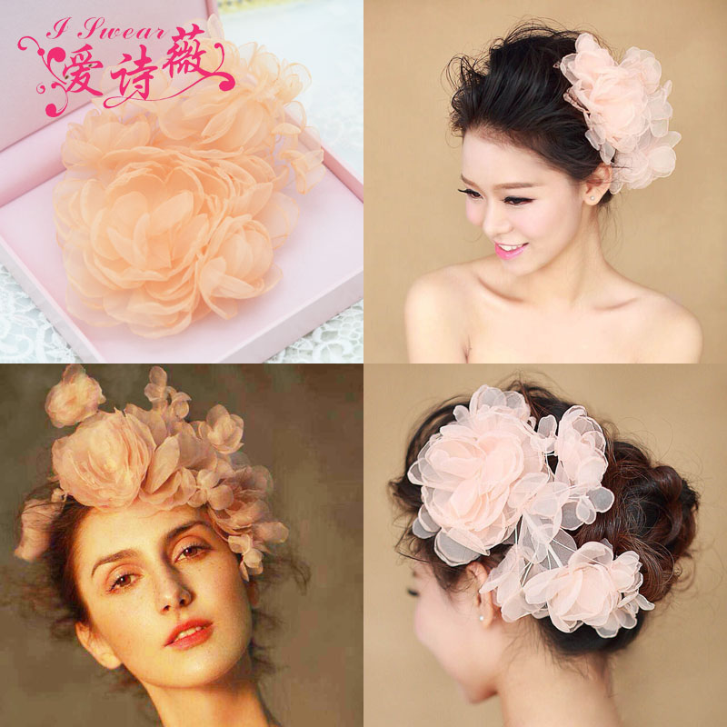 Wedding Bridal Party Princess Pearl Crystal Orange handmade silk yarn Flower Hair Band Tiara Headband Jewelry Accessories(China (Mainland))