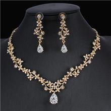 Jiayijiaduo Klassische Braut Schmuck Sets für frauen Kleider Zubehör Cubic Halskette Ohrringe Set Gold Farbe Hochzeit Kleider(China)