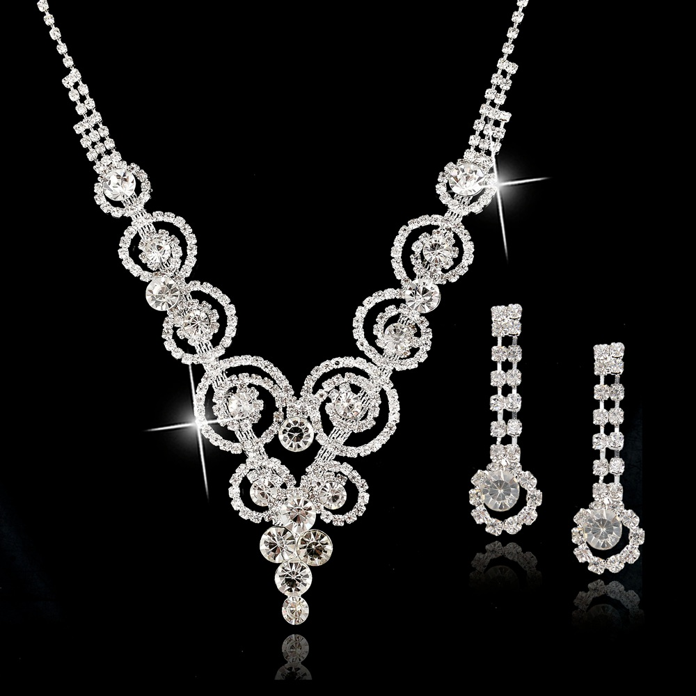 Silver plated bridal jewelry sets statement necklace and for Decor jewelry